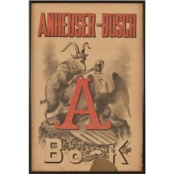 Anheuser Busch Bock Beer Poster Pre-Prohibition