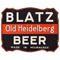 Blatz Beer Old Heidelberg Shield Porcelain Sign