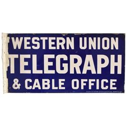 Western Union Telegraph Porcelain Flange Sign