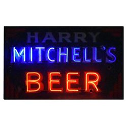 Harry Mitchell's Beer Double Sided Neon