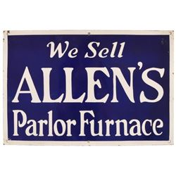 Allen's Parlor Furniture Porcelain Sign