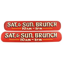 Sat & Sun Brunch Painted Wooden Signs (2)