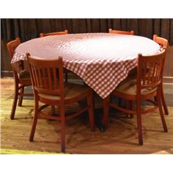 Threadgill's Two Round Tables & Six Chairs