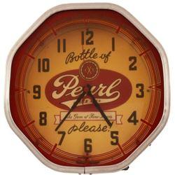 """Bottle of Pearl Please!"" Neon Beer Clock"