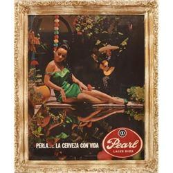 Pearl Beer La Cerveza Con Vida Framed Sign