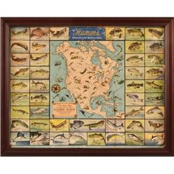 Hamm's Beer Advertising Game Fish Map