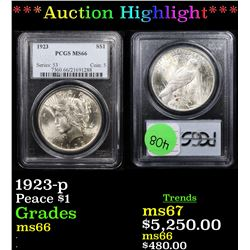 ***Auction Highlight*** PCGS 1923-p Peace Dollar $1 Graded ms66 By PCGS (fc)