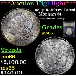 ***Auction Highlight*** 1921-p Rainbow Toned Morgan Dollar $1 Graded GEM+ Unc By USCG (fc)