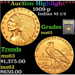 ***Auction Highlight*** 1909-p Gold Indian Quarter Eagle $2 1/2 Graded Select Unc By USCG (fc)
