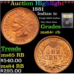 ***Auction Highlight*** 1881 Indian Cent 1c Graded Choice+ Unc RB By USCG (fc)