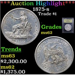 ***Auction Highlight*** 1875-s Trade Dollar $1 Graded Select Unc By USCG (fc)