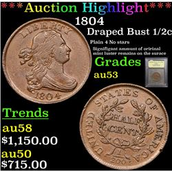 ***Auction Highlight*** 1804 Draped Bust Half Cent 1/2c Graded Select AU By USCG (fc)