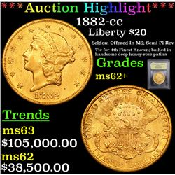 ***Auction Highlight*** 1882-cc Gold Liberty Double Eagle $20 Graded Select Unc By USCG (fc)