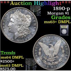 ***Auction Highlight*** 1890-p Morgan Dollar $1 Graded Select Unc+ DMPL By USCG (fc)