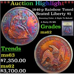 ***Auction Highlight*** 1846-p Rainbow Toned Seated Liberty Dollar $1 Graded Select Unc By USCG (fc)
