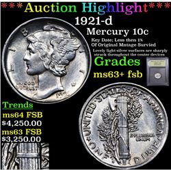 ***Auction Highlight*** 1921-d Mercury Dime 10c Graded Select Unc+ FSB By USCG (fc)