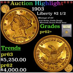 Proof ***Auction Highlight*** 1903 Gold Liberty Quarter Eagle $2 1/2 Graded Select+ Proof By USCG (f