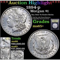 *Highligh OF ENTIRE WEEK* 1894-p Morgan Dollar $1 Graded GEM+ Unc By USCG (fc)
