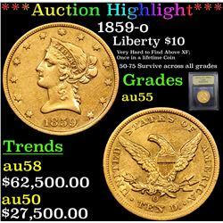 ***Auction Highlight*** 1859-o Gold Liberty Eagle $10 Graded Choice AU By USCG (fc)