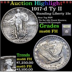*Highlight Of Entire Auction* 1917-d Ty II Standing Liberty Quarter 25c Graded GEM+ FH By USCG (fc)