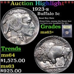 ***Auction Highlight*** 1923-s Buffalo Nickel 5c Graded Select+ Unc By USCG (fc)