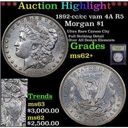 ***Auction Highlight*** 1892-cc /cc vam 4A R5 Morgan Dollar $1 Graded Select Unc By USCG (fc)