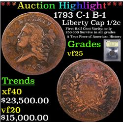 *Highlight Of Entire Auction* 1793 C-1 B-1 Liberty Cap half cent 1/2c Graded vf+ By USCG (fc)