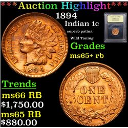***Auction Highlight*** 1894 Indian Cent 1c Graded Gem+ Unc RB By USCG (fc)
