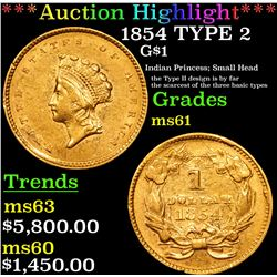 ***Auction Highlight*** 1854 TYPE 2 Gold Dollar $1 Graded BU+ By USCG (fc)