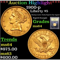 ***Auction Highlight*** 1900-p Gold Liberty Half Eagle $5 Graded Choice Unc By USCG (fc)