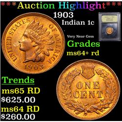 ***Auction Highlight*** 1903 Indian Cent 1c Graded Choice+ Unc RD By USCG (fc)