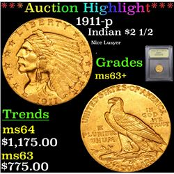 ***Auction Highlight*** 1911-p Gold Indian Quarter Eagle $2 1/2 Graded Select+ Unc By USCG (fc)