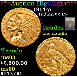 ***Auction Highlight*** 1914-p Gold Indian Quarter Eagle $2 1/2 Graded Unc Details By USCG (fc)