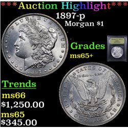 ***Auction Highlight*** 1897-p Morgan Dollar $1 Graded GEM+ Unc By USCG (fc)