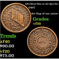 1863 Shoot Him on the Spot Dix Civil War Token 1c Grades vf++