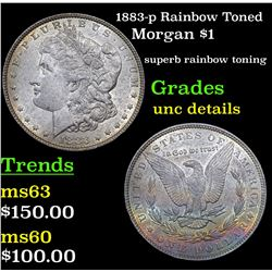 1883-p Rainbow Toned Morgan Dollar $1 Grades Unc Details