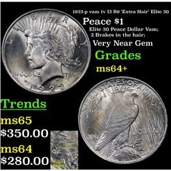 1923-p vam 1v I3 R6 'Extra Hair' Elite 30 Peace Dollar $1 Grades Choice+ Unc