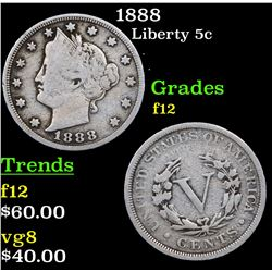 1888 Liberty Nickel 5c Grades f, fine
