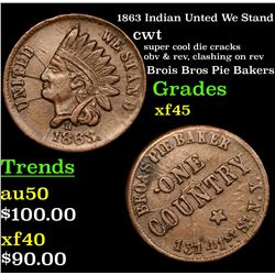 1863 Indian Unted We Stand Civil War Token 1c Grades xf+