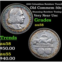 1892 Columbian Rainbow Toned Old Commem Half Dollar 50c Grades Choice AU/BU Slider