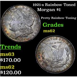 1921-s Rainbow Toned Morgan Dollar $1 Grades Select Unc