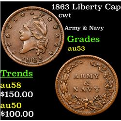 1863 Liberty Cap Civil War Token 1c Grades Select AU