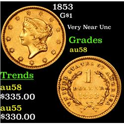 1853 Gold Dollar $1 Grades Choice AU/BU Slider
