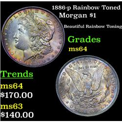 1886-p Rainbow Toned Morgan Dollar $1 Grades Choice Unc