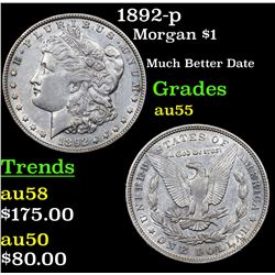 1892-p Morgan Dollar $1 Grades Choice AU