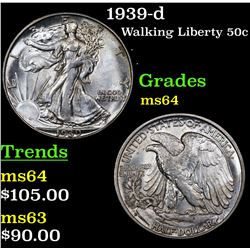 1939-d Walking Liberty Half Dollar 50c Grades Choice Unc