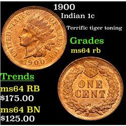 1900 Indian Cent 1c Grades Choice Unc RB