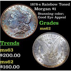 1878-s Rainbow Toned Morgan Dollar $1 Grades Select Unc