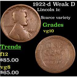 1922-d Weak D Lincoln Cent 1c Grades vg+