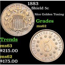 1883 Shield Nickel 5c Grades Select Unc